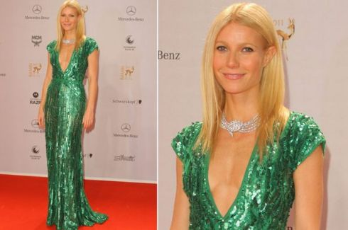Gweneth Paltrow in regal jade sequins.