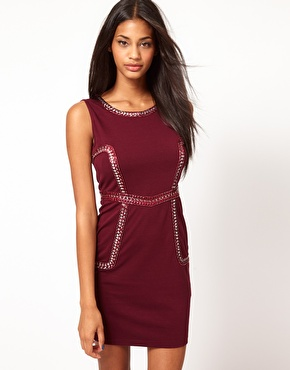 Oxblood, embellished dress from ASOS