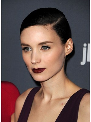 Rooney Mara working the oxblood lip to perfection