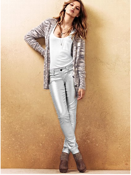 Silver jeans from Victoria's Secret online. Also available in red metallic.